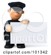 Royalty Free RF Clipart Illustration Of A 3d Police Toon Guy With A Sad Expression Holding A Blank Business Card by Julos