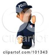 3d Police Toon Guy With A Sad Expression Standing Beside A Sign