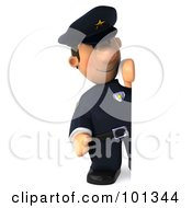 3d Police Toon Guy With A Happy Expression Standing Beside A Sign