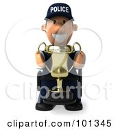 3d Police Toon Guy Facing Front And Holding A Trophy