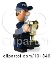 3d Police Toon Guy Facing Right And Holding A Trophy