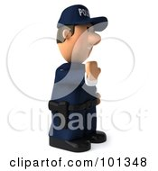 3d Police Toon Guy Facing Right And Gesturing To Stop