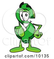 Clipart Picture Of A Dollar Sign Mascot Cartoon Character Pointing At The Viewer by Toons4Biz