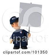 3d Police Toon Guy Hidden Partially Behind A Blank Sign
