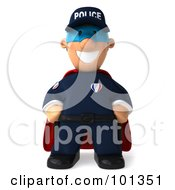 Royalty Free RF Clipart Illustration Of A 3d Police Toon Guy Super Hero Smiling by Julos