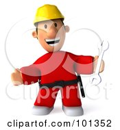3d Construction Worker Toon Guy Smiling And Holding A Wrench