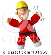 3d Construction Worker Toon Guy Jumping And Holding A Wrench