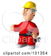 3d Construction Worker Toon Guy Facing Left And Holding A Wrench
