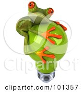Royalty Free RF Clipart Illustration Of A 3d Springer Frog Facing Right And Hugging A Green Light Bulb