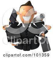 Multi Tasking 3d Toon Guy Smiling With A Laptop Cellphone Plans And Briefcase