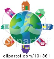 Royalty Free RF Clipart Illustration Of Colorful Houses Circling A Globe by Prawny