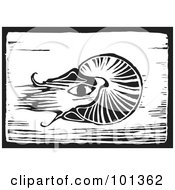 Royalty Free RF Clipart Illustration Of A Black And White Wood Engraving Squid Plaque by xunantunich