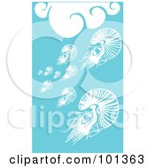 Royalty Free RF Clipart Illustration Of A Group Of Squid In The Blue Sea Under White Waves by xunantunich