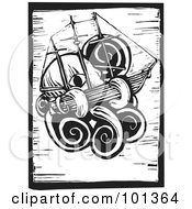 Royalty Free RF Clipart Illustration Of A Black And White Wood Engraving Styled Squid With A Ship