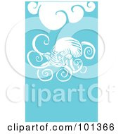 Royalty Free RF Clipart Illustration Of A Giant Squid In Blue Water With White Waves by xunantunich