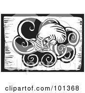 Royalty Free RF Clipart Illustration Of A Black And White Wood Engraving Styled Squid by xunantunich