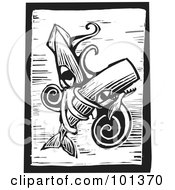 Royalty Free RF Clipart Illustration Of A Black And White Wood Engraving Styled Squid With A Whale