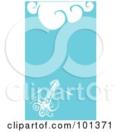 Royalty Free RF Clipart Illustration Of A Long Squid With Tentacles In The Blue Sea With White Waves
