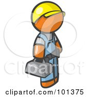Royalty Free RF Clipart Illustration Of An Orange Man Blue Collar Worker Wearing A Hardhat And Carrying A Tool Box by Leo Blanchette