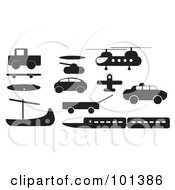 Royalty Free RF Clipart Illustration Of A Digital Collage Of A Black Truck Skateboard Boat Tank Ufo Car Wagon Train And Helicopter by JR
