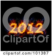 Royalty Free RF Clipart Illustration Of A Flaming 2012 Over Black