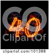 Royalty Free RF Clipart Illustration Of A Flaming 40 For 40th Anniversary Over Black by Michael Schmeling