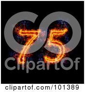 Royalty Free RF Clipart Illustration Of A Flaming 75 For 75th Anniversary Over Black by Michael Schmeling