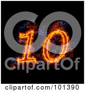 Royalty Free RF Clipart Illustration Of A Flaming 10 For 10th Anniversary Over Black by Michael Schmeling