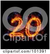 Royalty Free RF Clipart Illustration Of A Flaming 20 For 20th Anniversary Over Black by Michael Schmeling