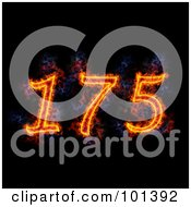 Royalty Free RF Clipart Illustration Of A Flaming 175 For 175th Anniversary Over Black by Michael Schmeling