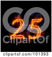 Royalty Free RF Clipart Illustration Of A Flaming 25 For 25th Anniversary Over Black by Michael Schmeling