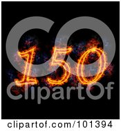 Royalty Free RF Clipart Illustration Of A Flaming 150 For 150th Anniversary Over Black by Michael Schmeling