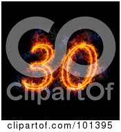 Royalty Free RF Clipart Illustration Of A Flaming 30 For 30th Anniversary Over Black
