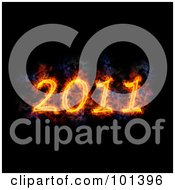 Royalty Free RF Clipart Illustration Of A Flaming 2011 Over Black