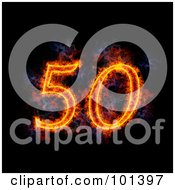 Royalty Free RF Clipart Illustration Of A Flaming 50 For 50th Anniversary Over Black