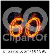 Royalty Free RF Clipart Illustration Of A Flaming 60 For 60th Anniversary Over Black