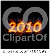Royalty Free RF Clipart Illustration Of A Flaming 2010 Over Black by Michael Schmeling