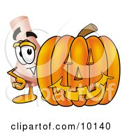 Clipart Picture Of A Nose Mascot Cartoon Character With A Carved Halloween Pumpkin by Toons4Biz