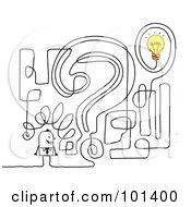 Royalty Free RF Clipart Illustration Of A Stick Businessman By A Question Mark Maze by NL shop
