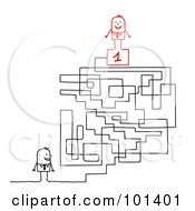 Royalty Free RF Clipart Illustration Of A Stick Businessman By A Maze