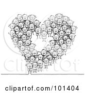 Royalty Free RF Clipart Illustration Of A Group Of Stick People Making A Heart Outline