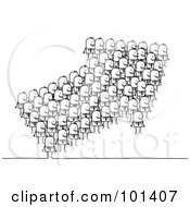 Royalty Free RF Clipart Illustration Of A Group Of Stick Business Men Forming An Arrow