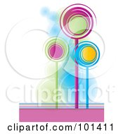 Royalty Free RF Clipart Illustration Of Three Tall Colorful Spiral Trees