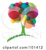 Royalty Free RF Clipart Illustration Of A Vibrant Tree With Colorful Circle Foliage by MilsiArt
