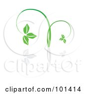 Royalty Free RF Clipart Illustration Of A Seedling Plant With A Reflection On White 1 by MilsiArt