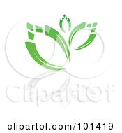 Royalty Free RF Clipart Illustration Of A Seedling Plant With A Reflection On White 6 by MilsiArt