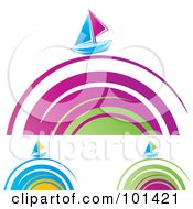 Royalty Free RF Clipart Illustration Of A Digital Collage Of Sailboats On Colorful Spiral Waves