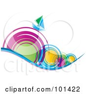 Royalty Free RF Clipart Illustration Of A Green And Blue Sailboat On Colorful Spiral Waves