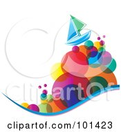 Royalty Free RF Clipart Illustration Of A Green And Blue Sailboat On Colorful Bubble Waves