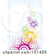 Royalty Free RF Clipart Illustration Of A Background Of Abstract Colorful Spirals Fading Into Blue And White